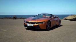 The BMW i8 Roadster two seater with electrically operated soft top roof and additional on board stowage space