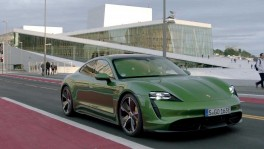 The new Porsche Taycan Turbo S in Mamba Green Driving Video
