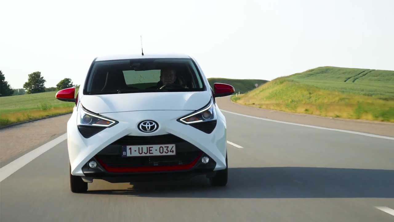 Toyota Aygo in White Driving